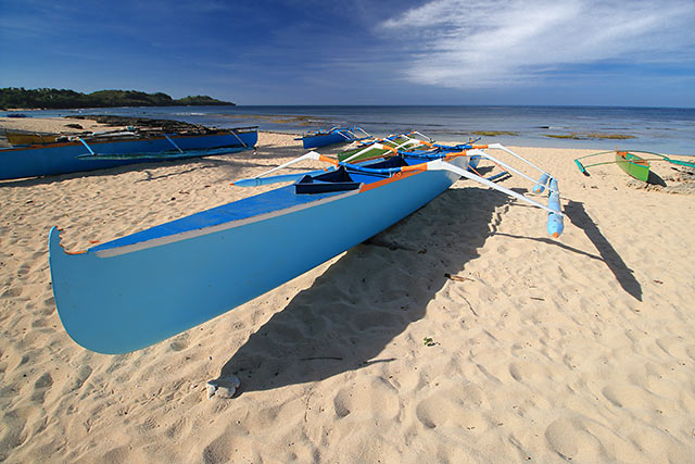 boats from a fishing community at Cabongaoan Beach