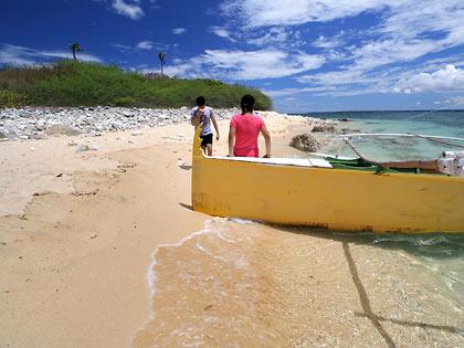 writers' boat comes ashore at Colibra Island