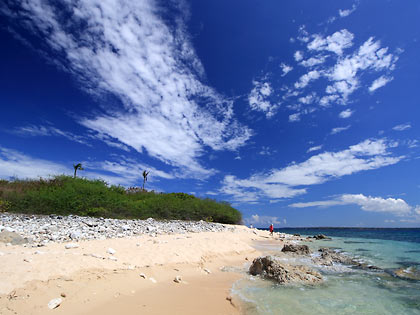 view of Colibra Island with its creamy white sand and coral rocks