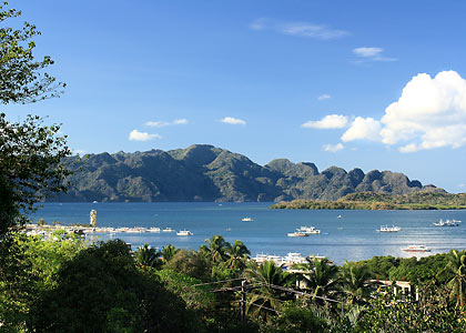 view of Coron Island from the writers' resort near Coron town