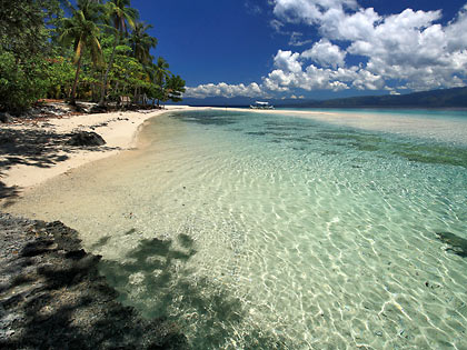 the beach at Mahaba Island's eastern side