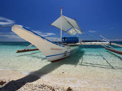writers' boat docked at Digyo Island