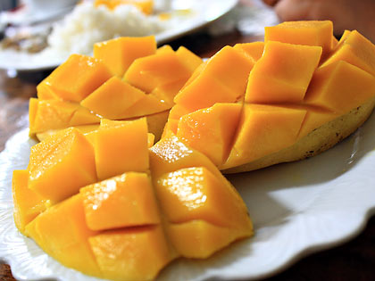 Guimaras mangoes for dessert at Raymen's Beach Resort cafeteria