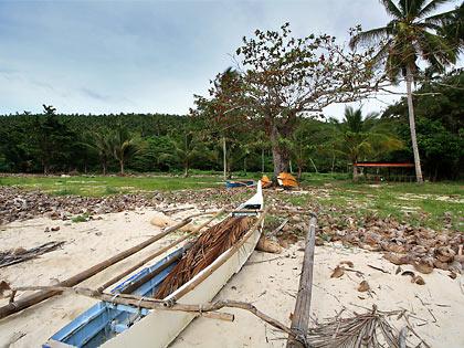 boat at vacant property, Gumasa Beach