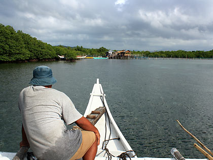 outrigger boat entering Juag Lagoon