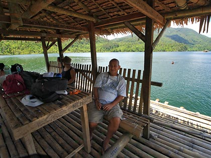 rented raft with hut at Lake Danao