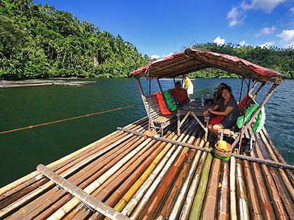floating hut at Lake Pandin