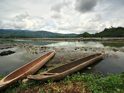 dugout canoes on a cloudy day, Lake Sebu
