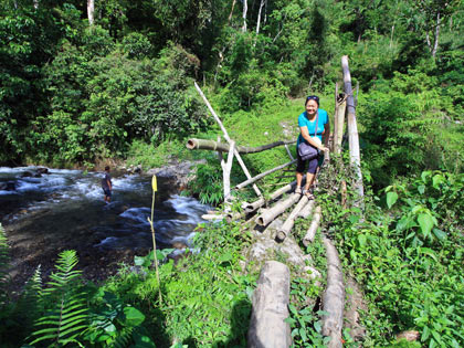 Nina crossing a footbridge on the way to T'daan Kini Falls