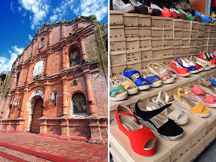 the St. John the Baptist Church and shoes on display at a store in Liliw