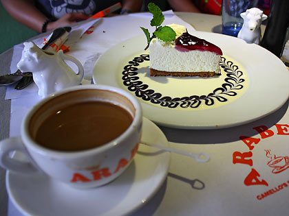 coffee and blueberry cheesecake at Arabela Restaurant