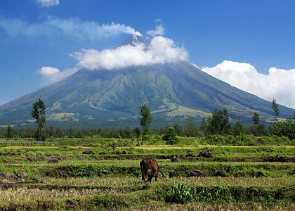 view of Mayon volcano partly hidden by clouds, Daraga, Albay