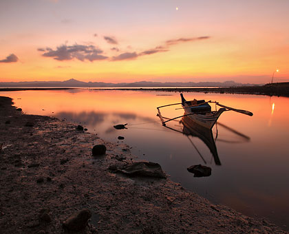 sunset at a tidal flat near Ormoc City pier