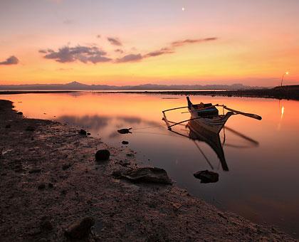 sunset at a tidal flat near Ormoc City pier