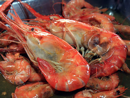 steamed giant freshwater shrimps and regular shrimps