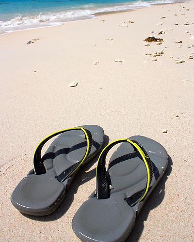 flip flops on pink sand, Subic Beach
