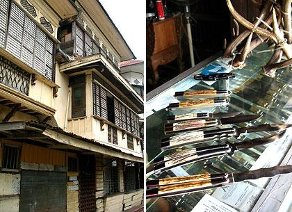 three-story ancestral homes and fan knife shop in Taal