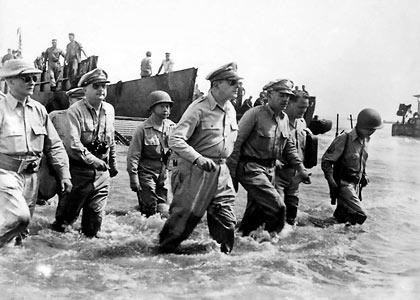 a 1944 picture of Gen. Douglas MacArthur's landing in Leyte