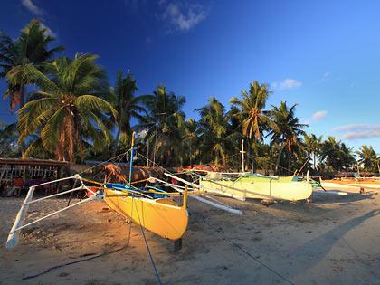 boats at Tambobong Beach near sunset
