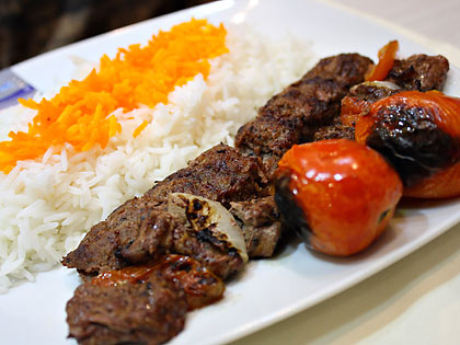 chelo kebab (beef) at Habibs Persian Cuisine