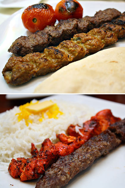 mixed chelo kebab from two Iranian restaurants in Metro Manila