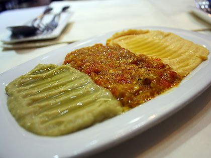 moutabal, mirza ghaseemi and hummus