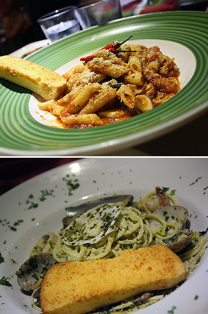 Penne Arrabiata and Seafood Pesto Spaghetti
