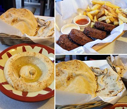 hummus, pita bread and falafel at Meshwe