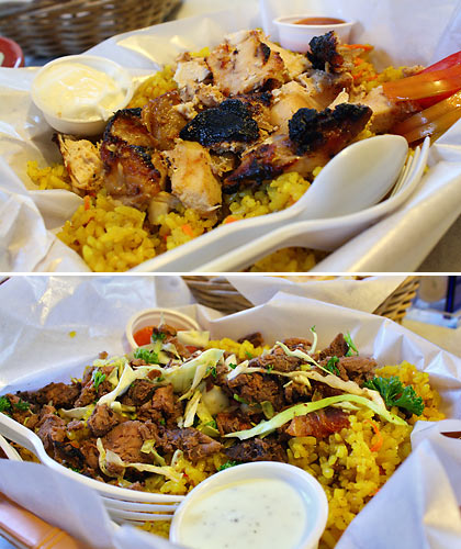 chicken and beef shawarma rice plates with Bukhari rice