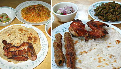 a collection of Pakistani food