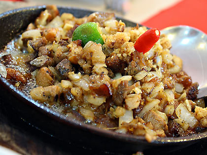 sisig or pork cheek and snout dish at Binulo Restaurant, Clark Field, Angeles City, Pampanga